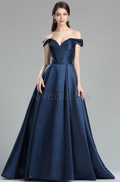 eDressit Dark Blue Off the Shoulder V Cut Puffy Prom Dress