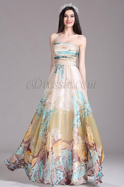 eDressit Beige Printed Strapless Long Summer Dress