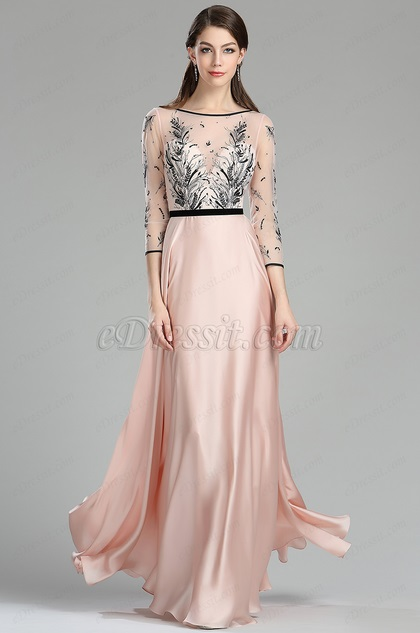 eDressit Pink & Black Embroidery Long Dress with Sleeves