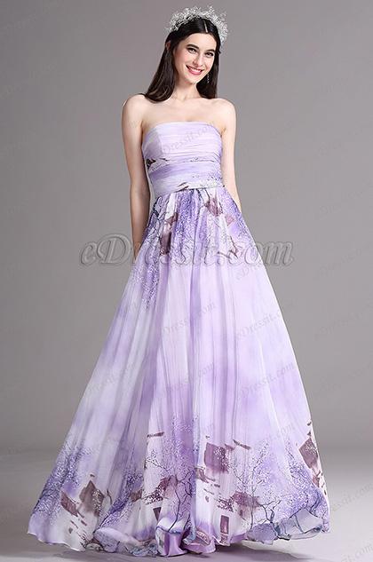 eDressit Flattering Printed Strapless Long Summer Dress