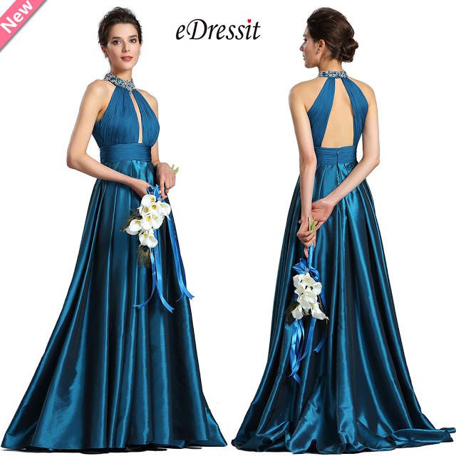 Sexy Halter Blue Beaded Evening Party Dress
