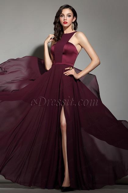 eDressit Elegant Burgundy Halter Red Carpet Chiffon Dress