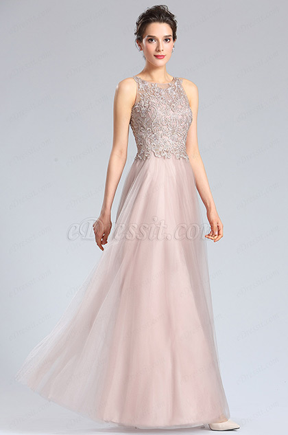 eDressit Halter Neck Embroidery Bodice Prom Dress Formal Gown