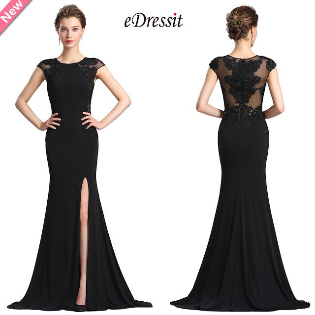 eDressit Black Lace Appliques slit Prom Evening Dress