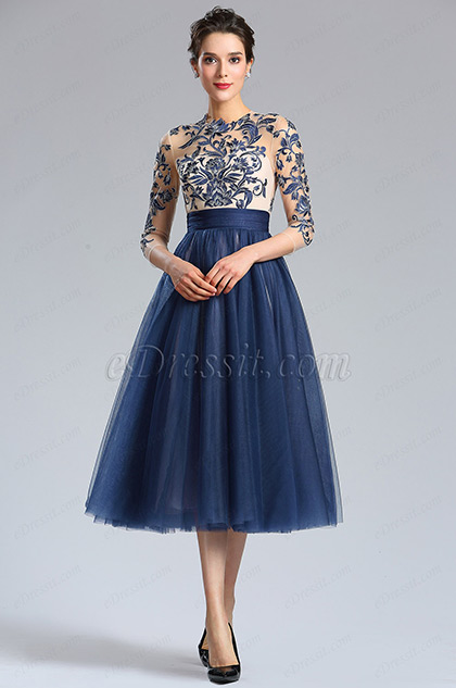 eDressit Blue Sleeves Embroidery Beaded Cocktail Evening Gown