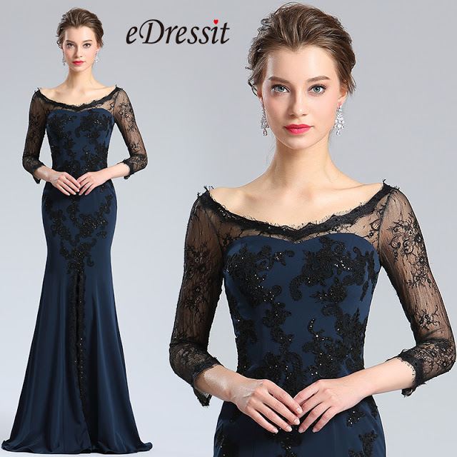 Sleeves Blue High Slit Prom Evening Dress