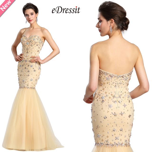 Strapless Sweetheart Beaded Beige Prom Gown