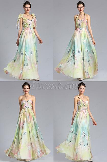 eDressit A Line Strapless Print Evening Dress Bridesmaid Dress