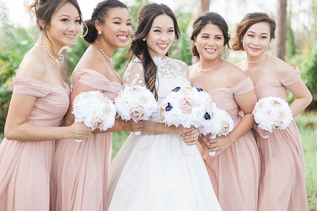 Pink Off the Shoulder Bridesmaid Dress