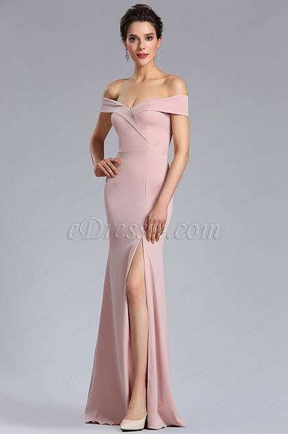 New Rose Pink Off Shoulder Slit Prom Evening Dress