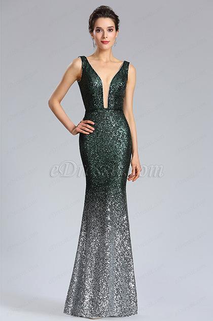 Elegant Deep V-Cut Green-silver Sequins Party Dress