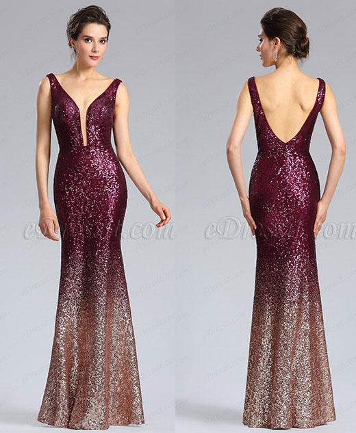 Elegant Deep V-Cut Burgundy-Gold Sequins Party Dress