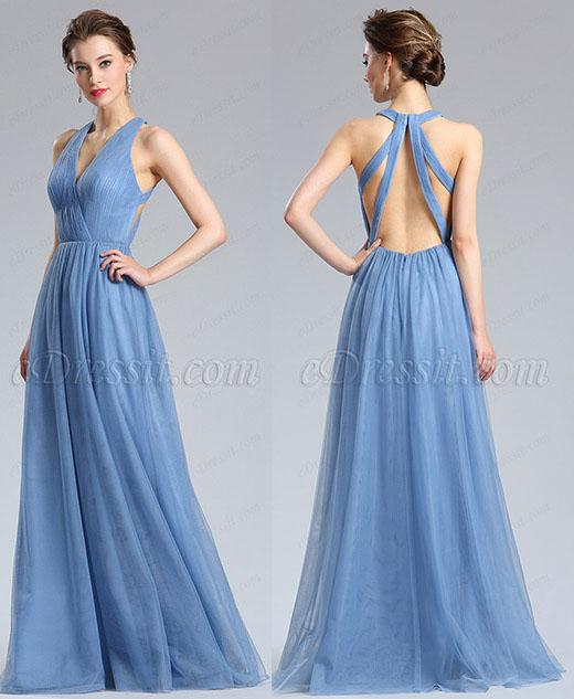 eDressit V-Cut Tulle Bridesmaid Dress Evening Dress