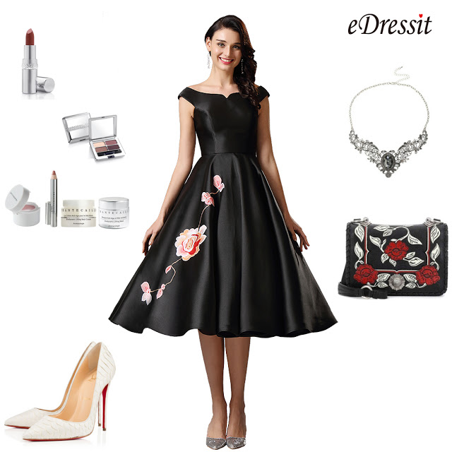 Off Shoulder Black Tea Length Dress Party Dress