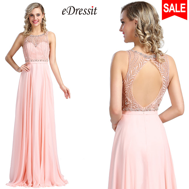 eDressit Sleeveless Pink Beaded Prom Evening Gown
