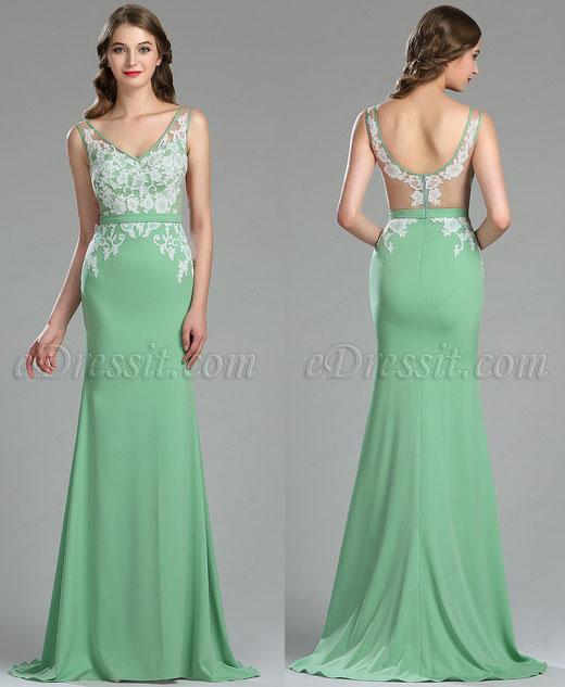 eDressit Beautiful Green Lace Quinceanera Spring Dress