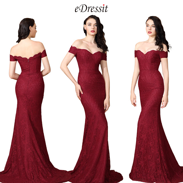 Off Shoulder Sexy Burgundy Lace Dress Ball Gown
