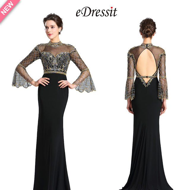 Sleeves Gold&Black Beaded Evening Prom Gown