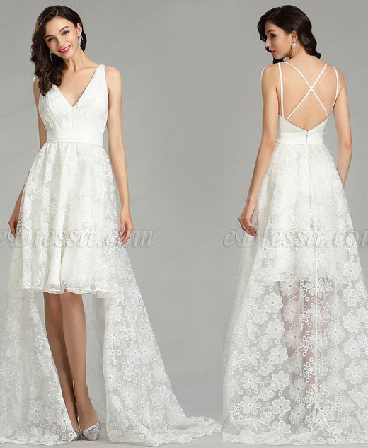 White Lace Designer Beach Wedding Dress