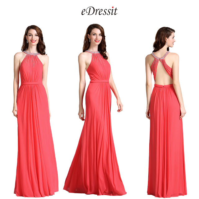 Carlyna Coral Beaded Halter Neck Ruched Bridesmaid Evening Dress