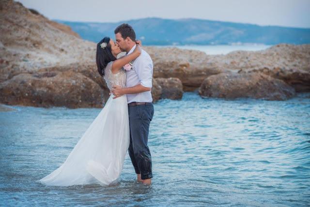 A-line Illusion neck beaded bodice wedding dress