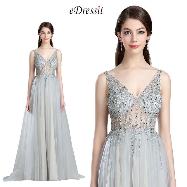 Sparkly V Cut Beaded Evening Dresses for Women