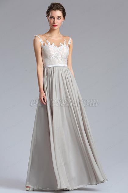 Elegant A Line Sleeveless Grey Chiffon Evening Dress