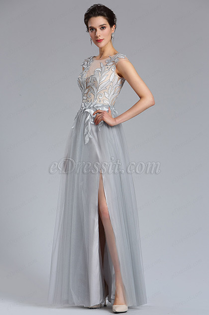 Grey Tulle slit Floral Lace Evening Gown