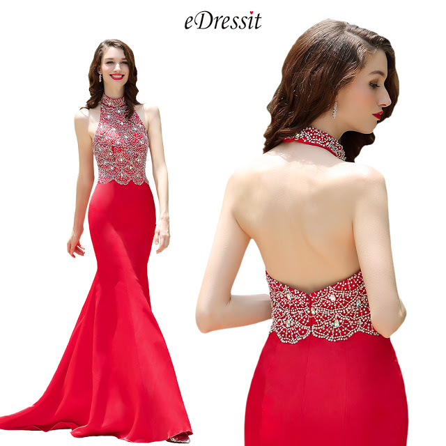 Red Halter Neck Beaded Mermaid Prom Formal Dress