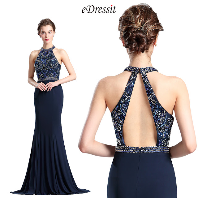 Sexy Blue Halter Beaded Prom Evening Dress