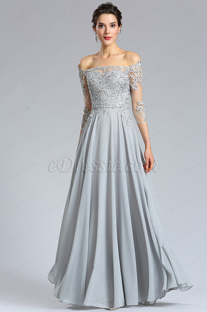 Long Sleeves Grey lace Formal Evening Dress