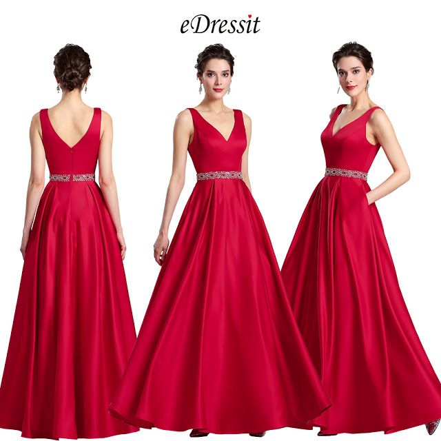 Red Beaded waistline Plunging V Neck Formal Prom Dress