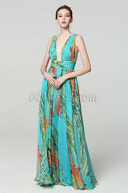 green v cut print floral prom dress