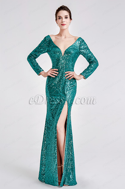 Green Sequins Long Sleeves Slit Ball Gown Dress