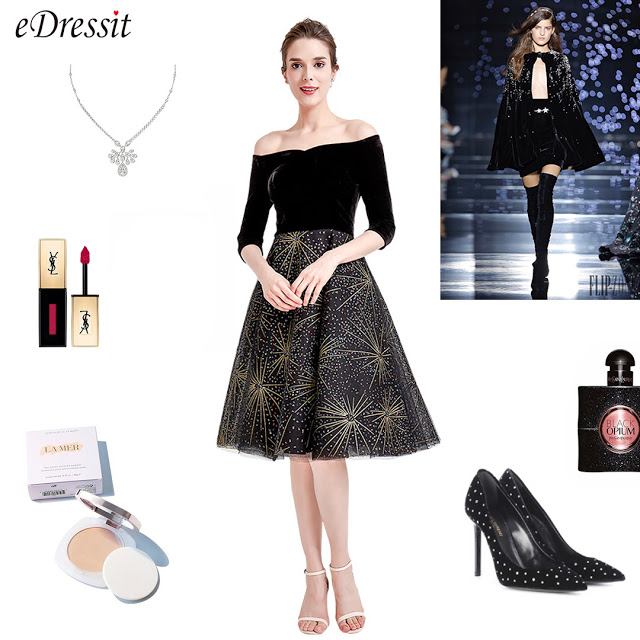 off the shoulder black velvet sparkle skirt short dress