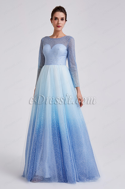 2019 New Shiny White-Blue Sleeves Party Formal Dress