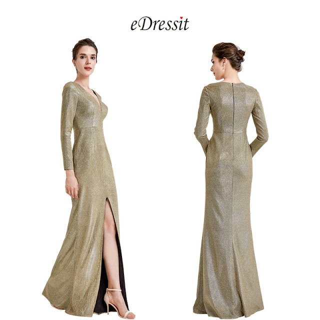sexy v neck long sleeves party evening dress