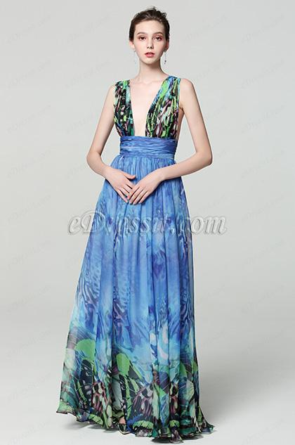blue v cut printed floral women party dress