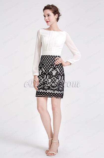 White & Black Chiffon Lace Blouse Suit Dress