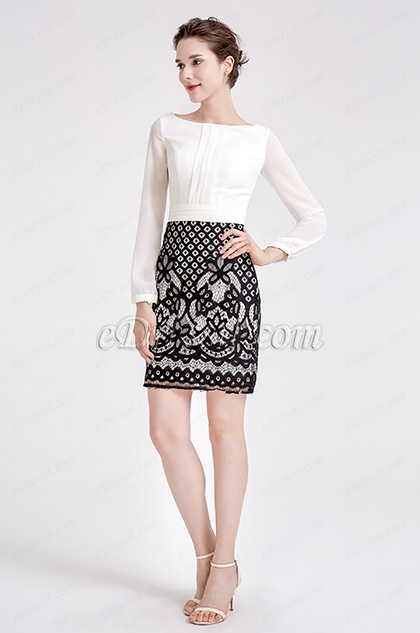 White & Black Chiffon Lace Blouse Suit Dress