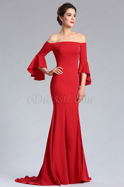 Red Off Shoulder Prom women Evening Dress