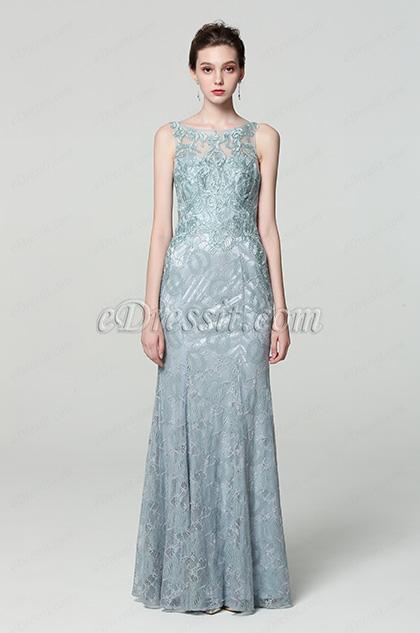 grey lace applique evening dress