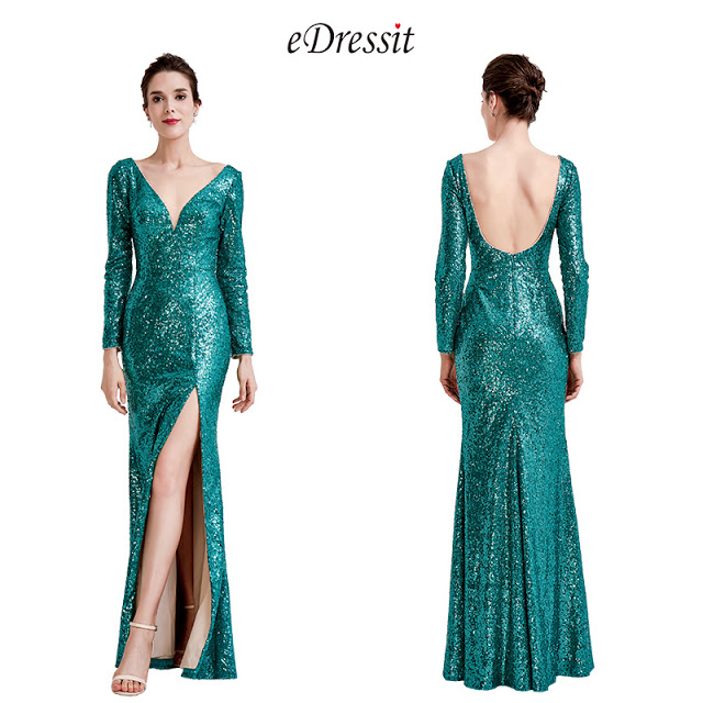 green sequins long sleeves slit ball gown