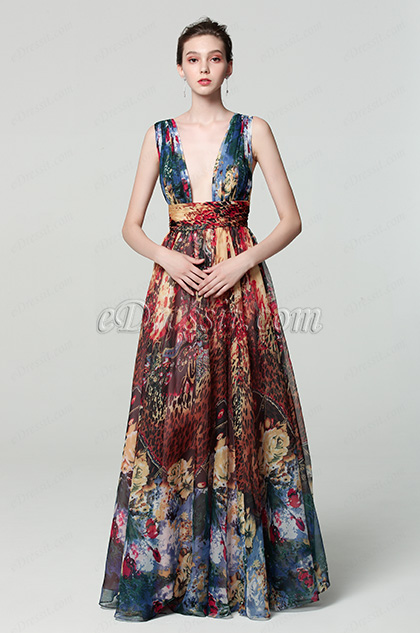 strap plunging print ball gown