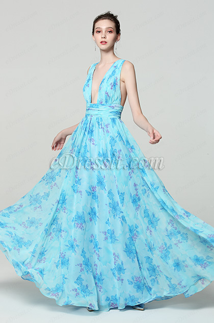 blue v cut print formal dress