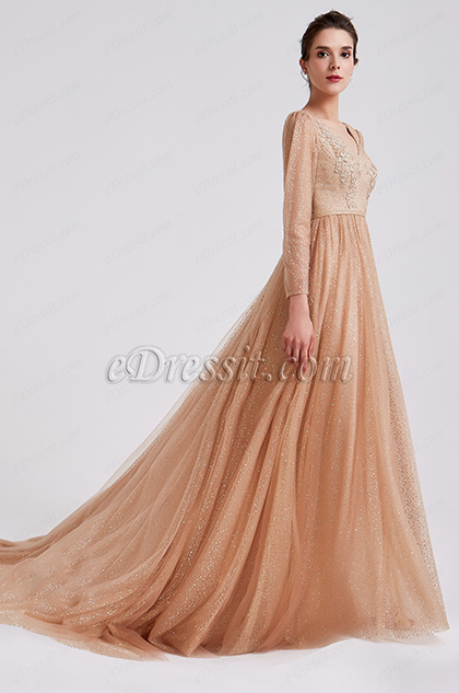 2019 Fashion Gold-Brown Shiny Formal Evening Dress