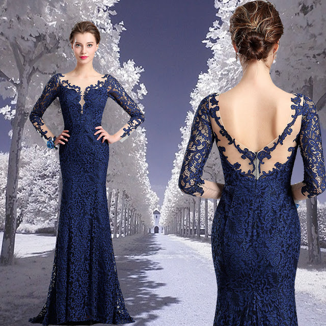 V-Cut Bodice Sexy Navy Blue Lace Dress Ball Gown