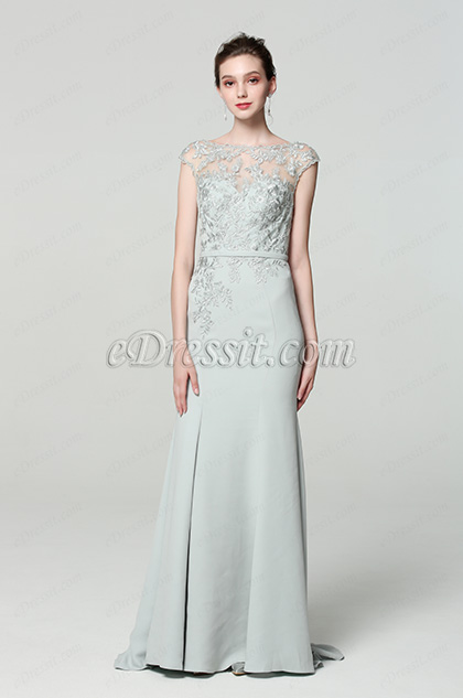 grey cap sleeves embroidery prom dress