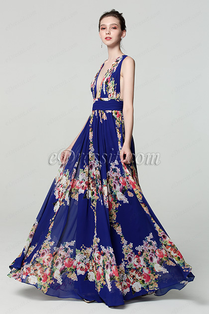 plunging v cut print floral evening dress