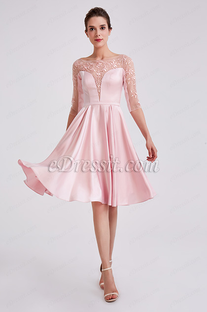 Cute Pink Sleeves Short Cocktail Party Dress
